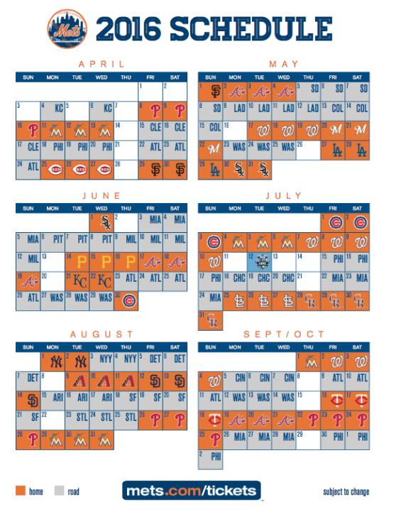 2016 Mets schedule
